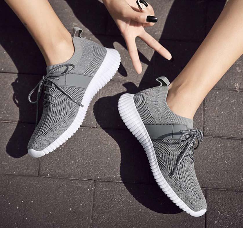 Las mujeres clásicos Plataforma Trainer las mujeres planas de los zapatos del zapato informal Comfort zapatilla de deporte de las mujeres del ocio plataforma de la zapata Chaussures Formadores SH04 P45