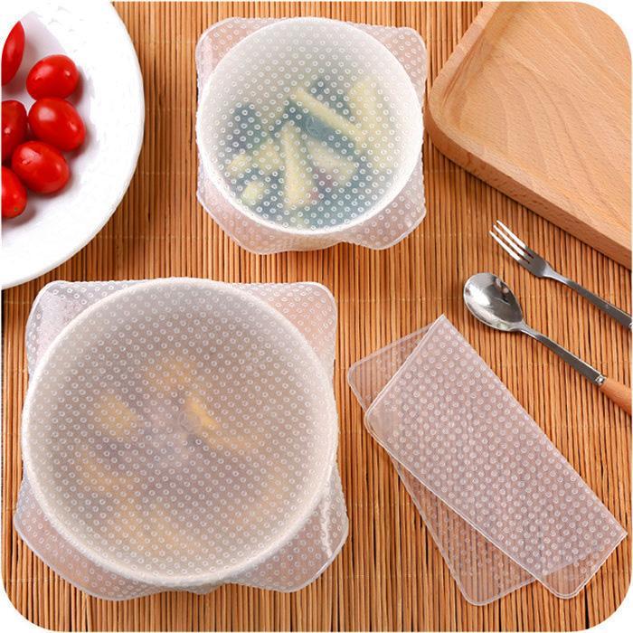 Mutfak Kılıfı Kapak Ev Depolama Fonksiyonlu Yeniden kullanılabilir Silikon Gıda sarın tutmak 4 adet Silikon Bowl Gıda Saklama sarar Kapak Conta Taze