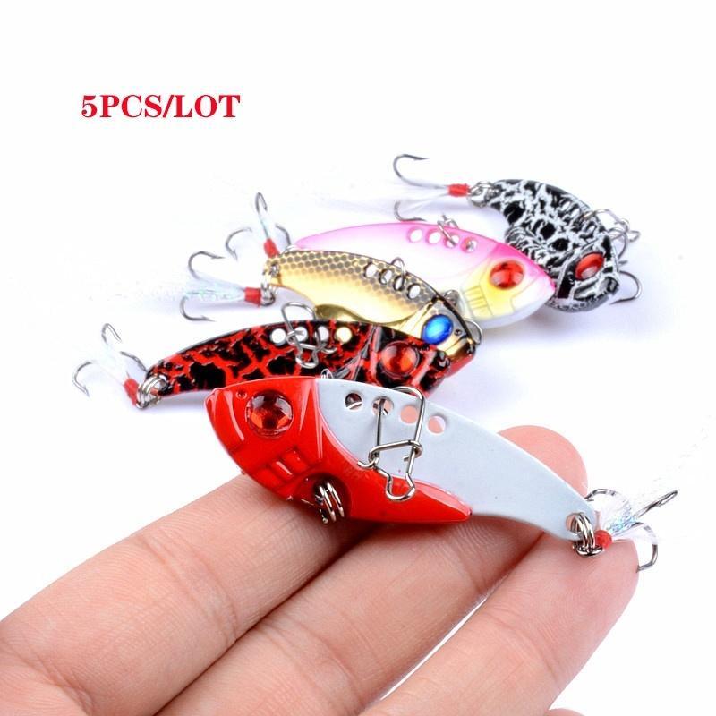 Jigs biónico Juego de señuelos de pesca Trout Bass Bait Detalle Metal Lurevib Lentejuelas Accesorios Accesorios Agua salada 5pcs / lote 5.5cm / 11g