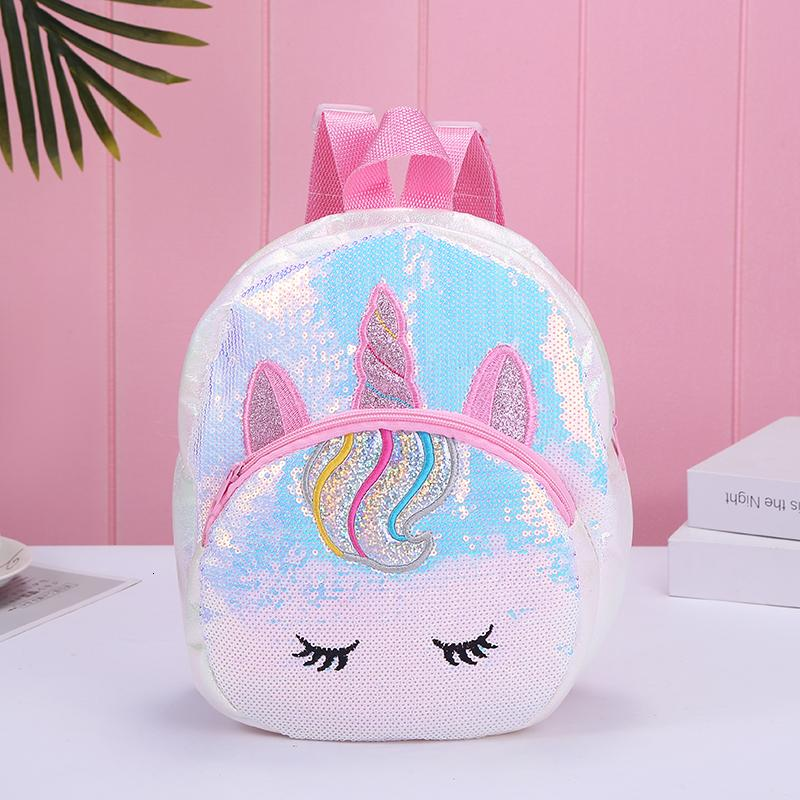 kız için Mermaid payet sırt çantası, Unicorn büyük fermuar çocuklar okul çantası, kalp şeklinde aşk hologram genç sırt çantası, okul seyahat çantası