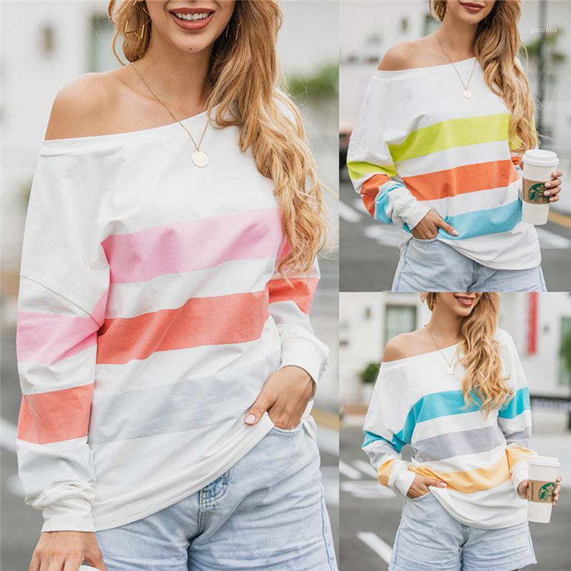 Top casual Abbigliamento Donna Autunno progettista delle donne magliette a maniche lunghe una spalla O del collo a righe stampato