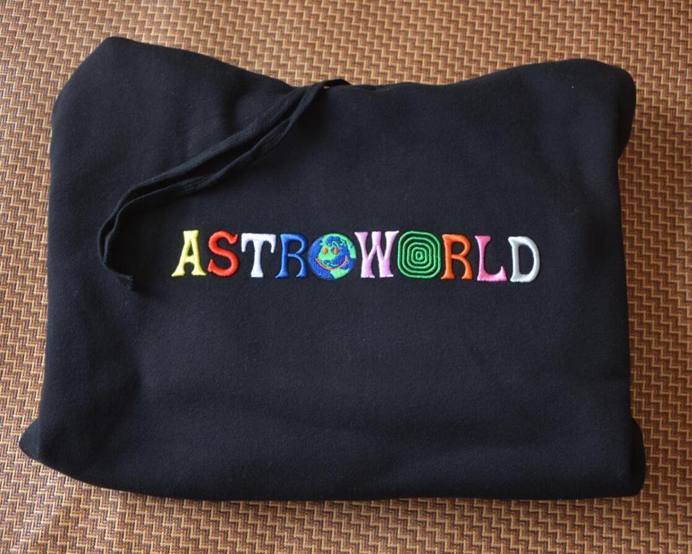 2020 TRAVIS SCOTT Astroworld VOCÊ ESTAVA AQUI bordado arco-íris Carta Homens Mulheres Pullover Hoodies Moda Hip Hop camisola MX200813