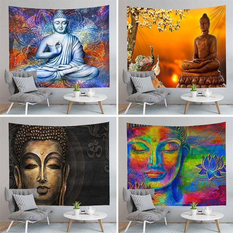 Indian Buddha Statue Tapisserie Wandbehang Wand Tuch Tapisserien Psychedelische Yoga Teppich mit unterschiedlicher Größe Home Decoration