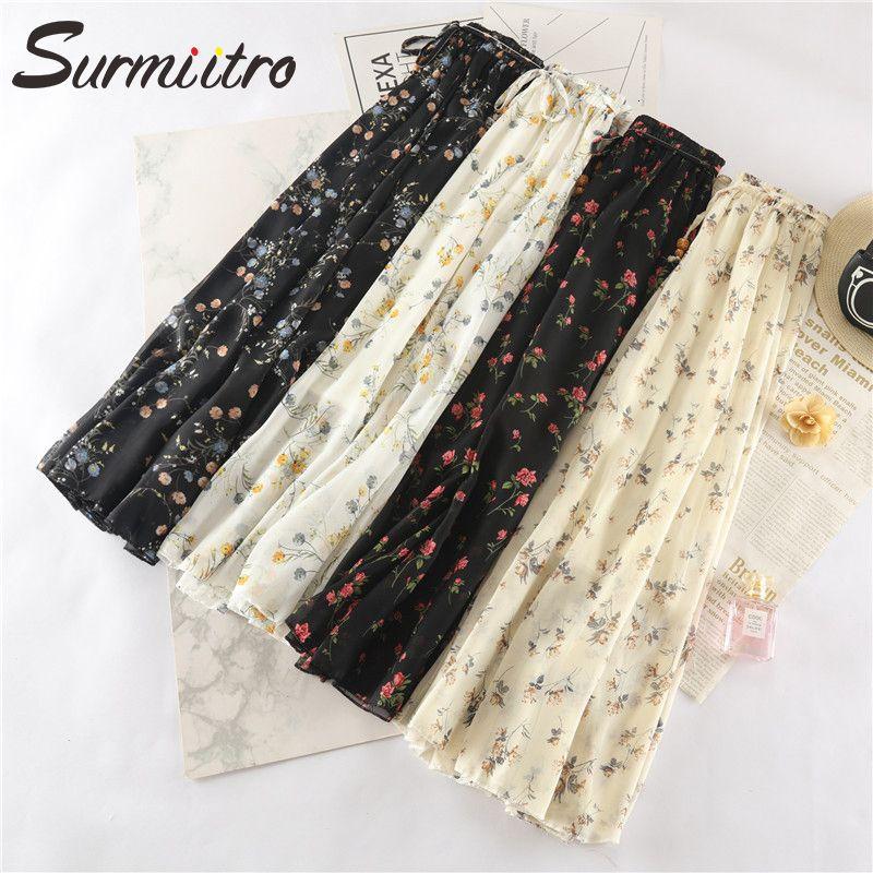 Surmiitro Long Maxi Elegant Summer Skirt Women 2020 Fashion Ladies White Bla Floral Print High Waist Sun School Skirt Female