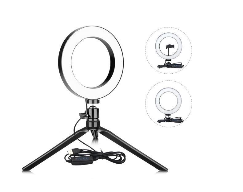 Photographie LED Vidéo en direct selfie Light Ring 16 / 26cm Dimmable photo Studio Light Avec Mini trépied USB Plug pour le maquillage Youtube la vidéo en direct