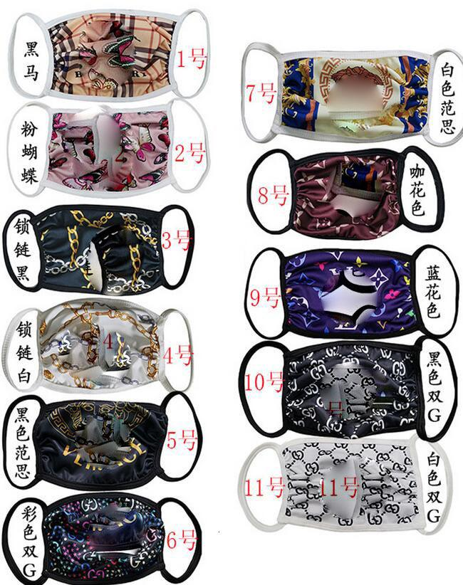 Masques Mode unisexe Tissu Designer Nonwoven masque facial Lettre sunproof antipoussière Cyclisme Sport Bouche Masques Femmes respirant Lavable