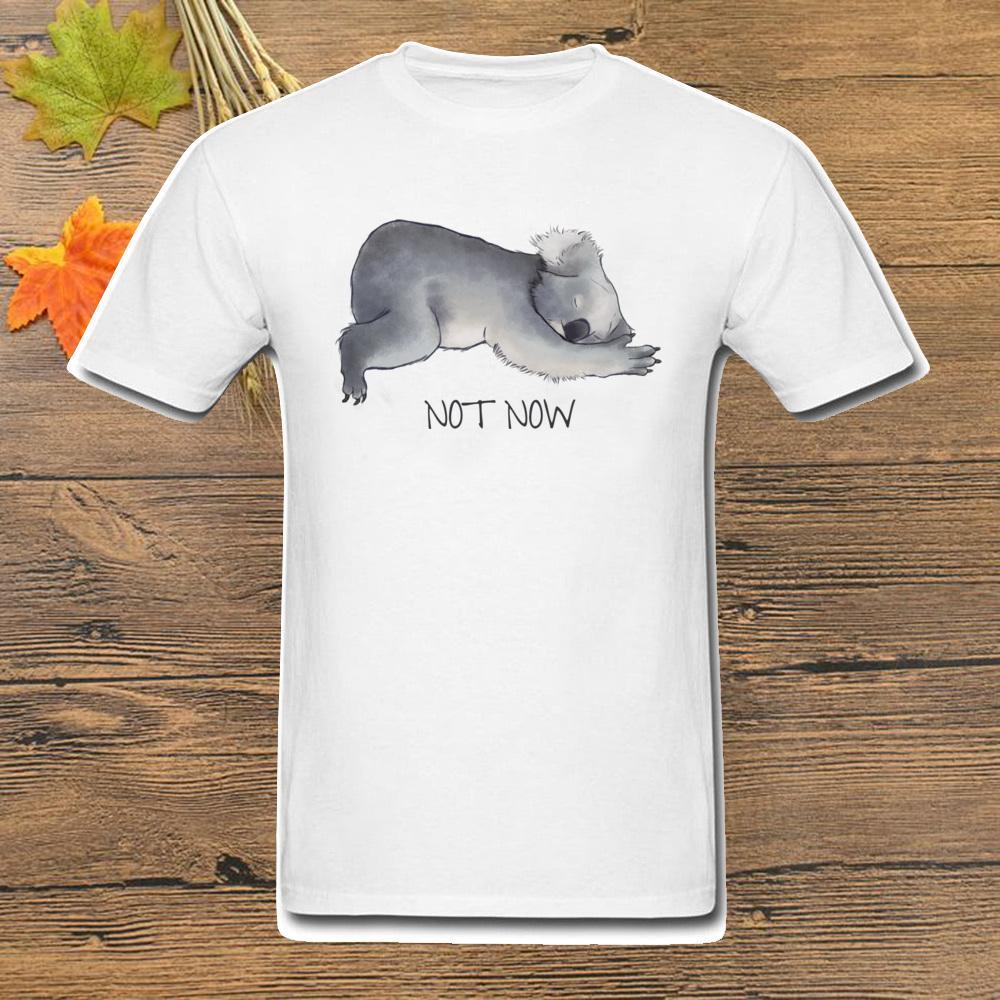 Не сейчас 2020 Ленивец животных Белая футболка Koala Эскиз милый мультфильм печати короткий рукав случайные рубашки Tee Summer