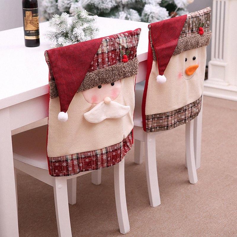 Новый год Рождество стул обложки Снеговик Санта-Клаус украшения Xmas украшения крышки стола стул Gy4Y #
