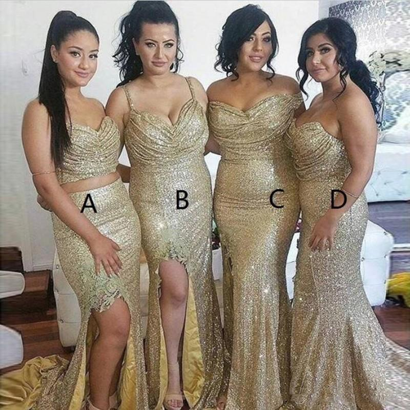 2021 Champagne Sequin Bridesmaids Dresses Floor Length Spaghetti Strapless Maid Of Honor Dresses Side Split Wedding Guest Party
