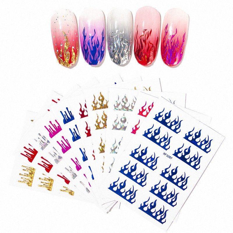 1 лист для ногтей Наклейки Flame Red Наклейка Nails Art наклейки украшения для ногтей Маникюр Огонь Дизайн Для Фольга Назад Клей Гвозди Аксессуары XoeF #