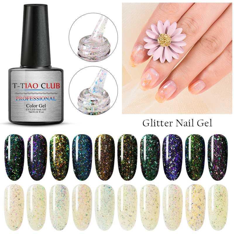 T-TIAO CLUB Holographic Irregular Sequins Glitter Nail Gel Polish Laser Soak Off UV Gel Hybrid Multi-colored Nail Art Nails