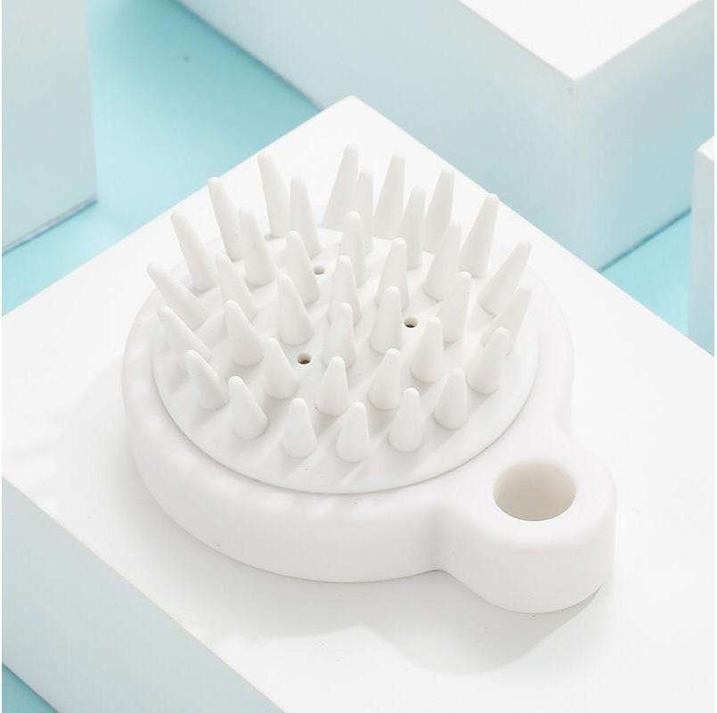 White Silicone Massage Combs Round Hanging Ring No Handle Brush Bath Hairdressing Soft Brushes Women Hair Shampoo Scalp Caring 1 9yl G2