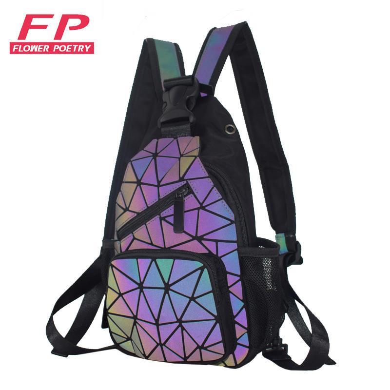 Yeni moda bayan sırt çantaları, kulaklık deliği, erkekler seyahat okul sırt çantası, göğüs, omuz çantası ile geometrik ışıltılı sırt çantası