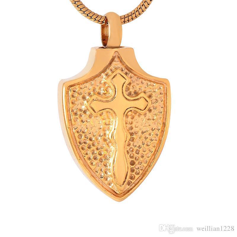 nuevo z549 de oro grande Cruz Sield acero inoxidable Memorial urna las cenizas de la joyería titular del recuerdo de la cremación colgante collar para los hombres
