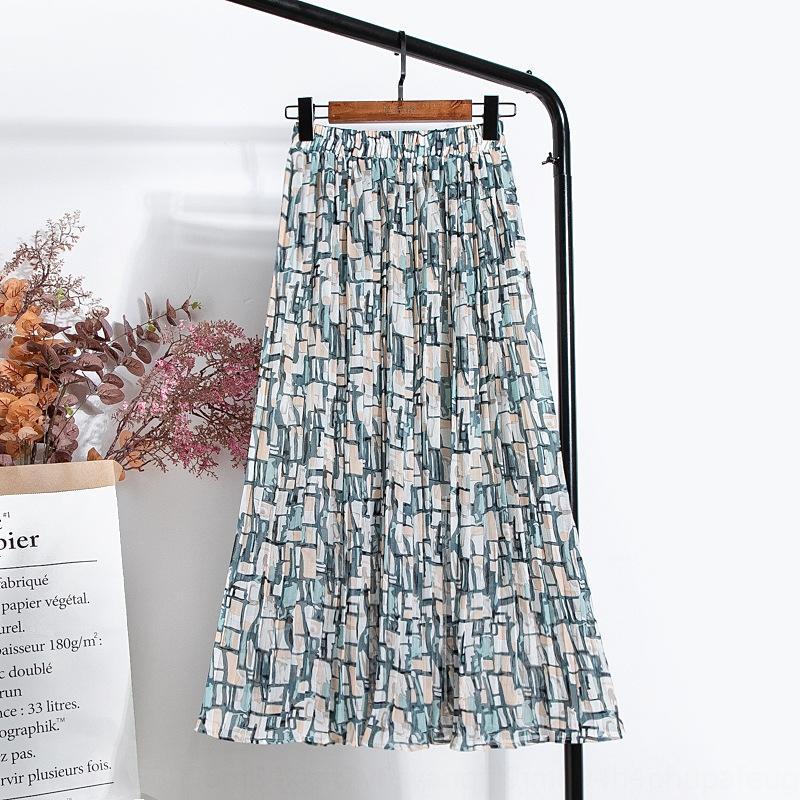 여성의 긴 주름 치마 2020 여름 새로운 높은 허리 중간 길이의 주름 치마를 모든 일치에 대한 추상 패턴 인쇄 쉬폰