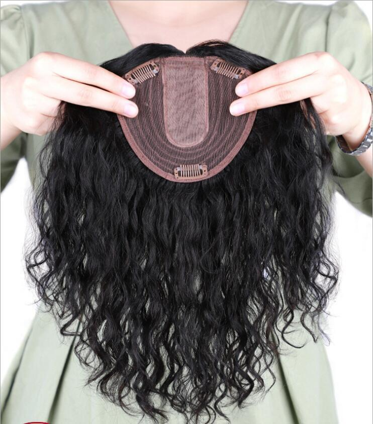 Livraison gratuite usine haut de maquillage vrais cheveux directe timbre pelucheux cheveux blancs aiguille couvrant invisible long morceau de cheveux bouclés