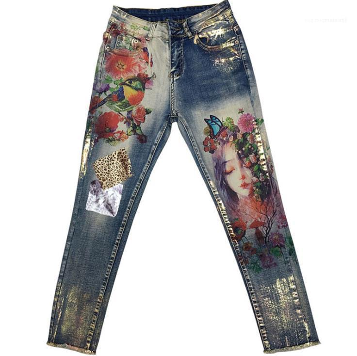 Pantaloni Denim Jeans Womens metà di vita elastica di Capris delle donne di modo Magro matita pantaloni 3D floreali dipinti