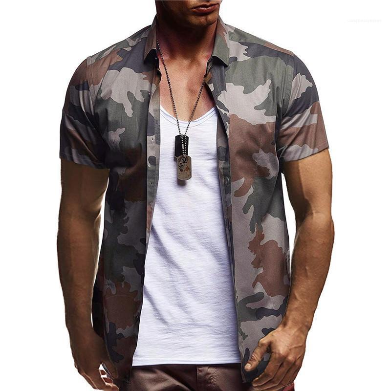 Manga corta cuello de solapa camisas para hombre Ropa para hombre de la moda camisas del diseñador color de camuflaje natural camisas Casuak
