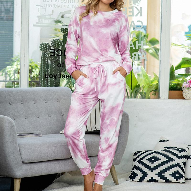 2020 Tie-краситель печать женщина Два Piece Set Summer с длинным рукавом O-образный вырез Топами + Женского Узелок эластичного пояса Pant Пижама Set Home