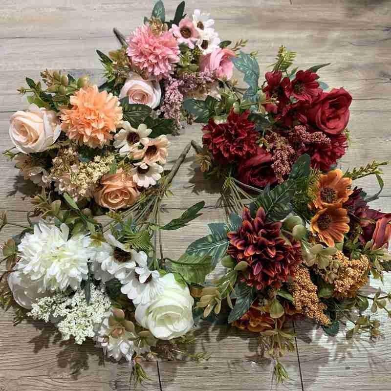 Fleurs décoratives Couronnes artificielles Rose Rose Hybrigea Daisy Automne Bouquet hybride pour la maison Mariage Décor de Noël Chute Soie Faux