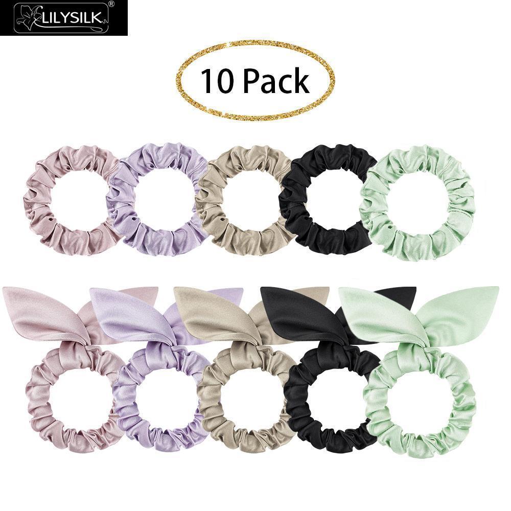 LilySilk 10 Pack Смешанный стиль 100 Pure Silk Hair Scrunchies Аксессуары Soft Care Роскошное Бесплатная доставка LJ200921
