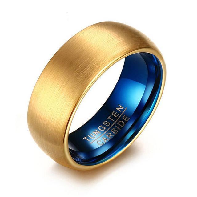 2020 nuevo azul del color oro 100% donaciones joyería del anillo de carburo de tungsteno de la boda para los hombres las mujeres del anillo de la boda punky de la vendimia