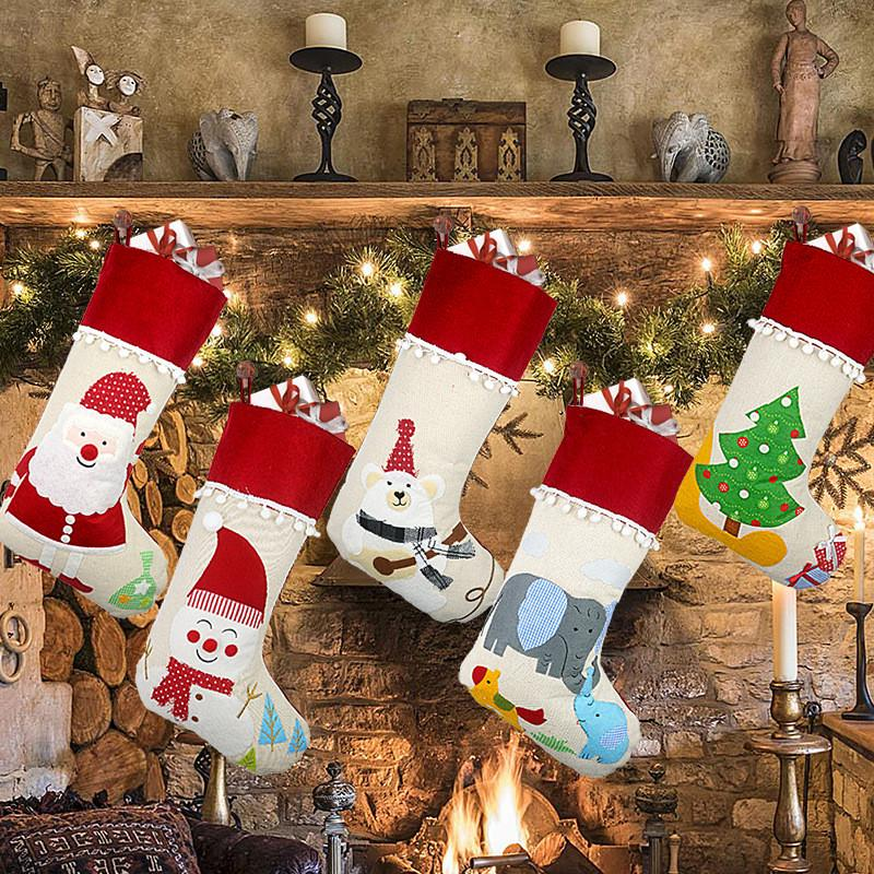 Christmas Linen Stocking Santa Xmas Tree Hanging Socks Xmas Kids Gifts Storage Bags Christmas Tree Pendant Gift Bag T1i2243 From Tina310 3 67 Dhgate Com