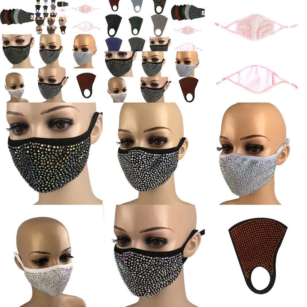 Mode Staubdichtes Schutz Bling Bling Diamant-Maske PM2.5 Mund Masken Waschbar Wiederverwendbare N9MV 98MX1