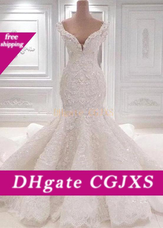 Luxurious Mermaid Lace Vestidos de casamento do pescoço da colher cheia do laço Appliqued Cristal Catedral de casamento Long Train vestidos de noiva Bc0221