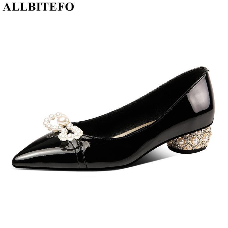 ALLBITEFO grande tamanho: 34-42 couro genuíno marca bowtie saltos altos casamento mulheres sapatos mulheres de salto alto sapatos de saltos