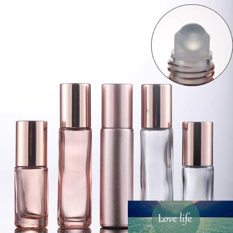 Großhandel 5ml 10ml Glasduftstoff-Roll On Flasche mit Metallkugel-Glas Roller und rosa Cap