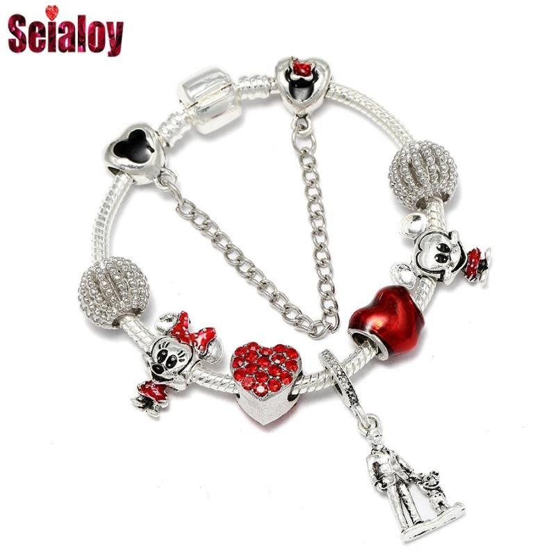 Seialoy animado del tema animado de animales con cuentas rojas del corazón del encanto pulseras para las muchachas de los regalos originales pulsera de Niños