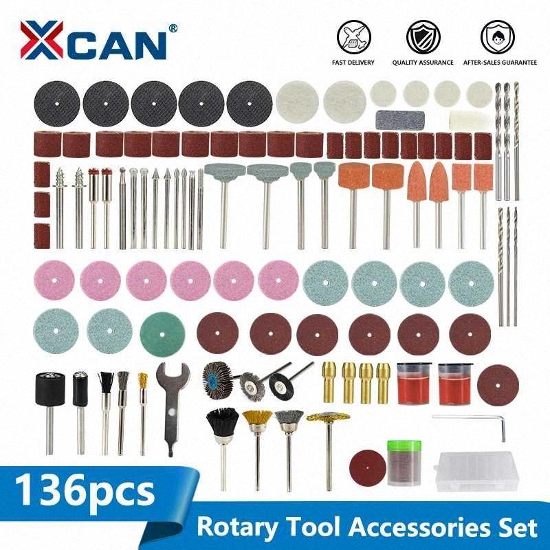 XCAN 136pcs Accessori attrezzo rotativo per Dremel Mini Drill Bit Set abrasivo macinazione strumento di levigatura lucidatura di taglio Kit FKeD #