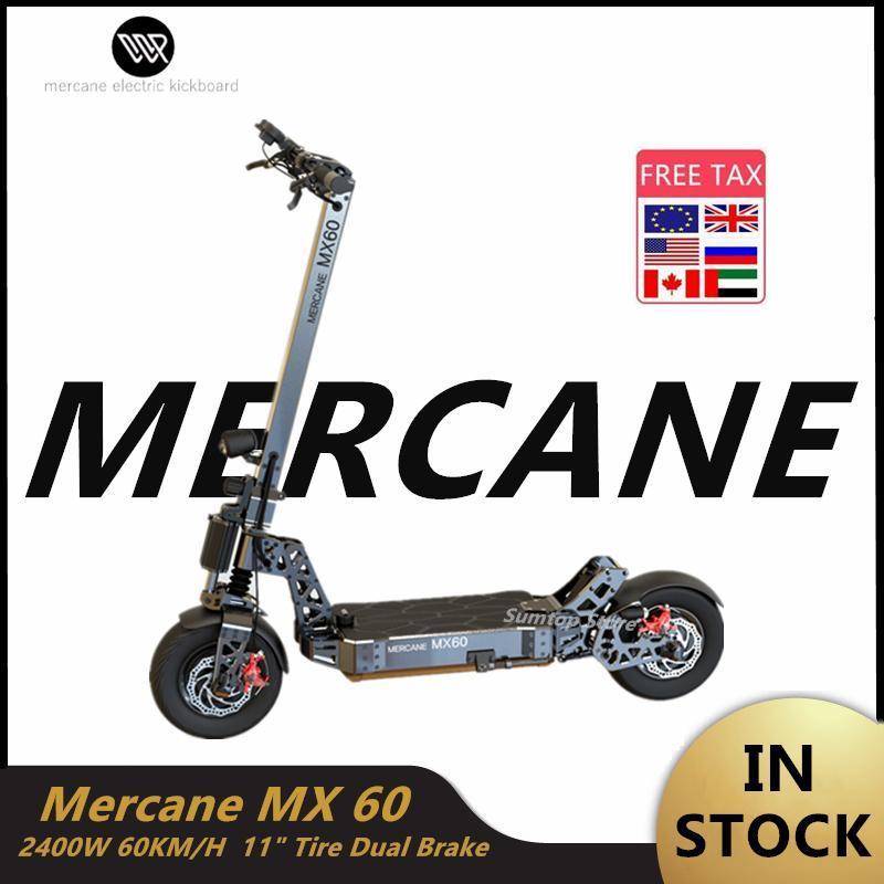 2020 새로운 도착 Mercane 2400W 60V 10AH 11 인치 60 KM / H 공기 충격 전기 스쿠터 듀얼 모터 와이드 휠 스쿠터 자전거 오프로드 MX60을 접어