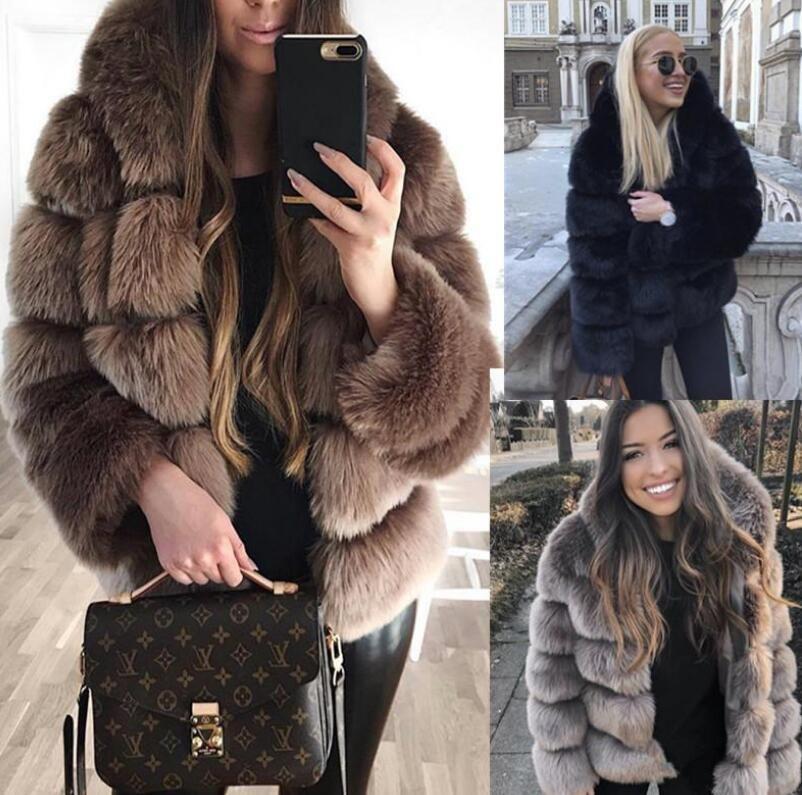 Зимняя горячая продажа с длинным рукавом с капюшоном меха теплого женщина пальто шик и американский стилем зима искусственного мех вскользь с капюшоном женское пальто