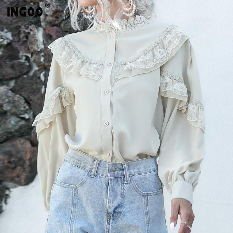 INGOO Zarif Fener Uzun Kollu Şifon Gömlek Kadınlar Bahar Casual Dantel Bayanlar Vintage Düğme Beyaz Kayısı fırfır Bluz 200924 Tops