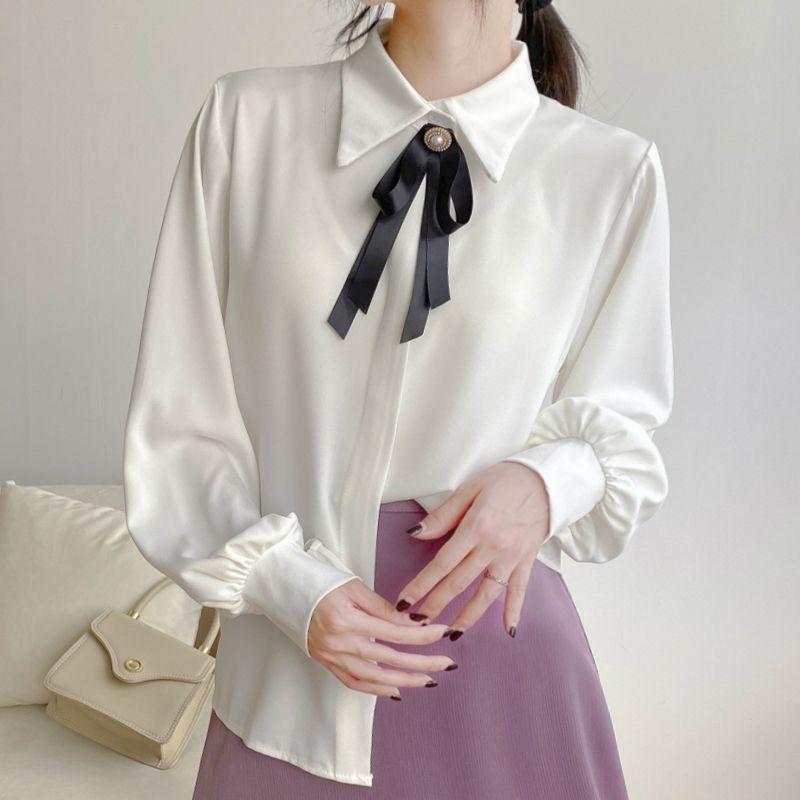 2020 новых женщин фонариков рукавом атласа блузка с черным лук Урожай офис Lady Elegance Белые рубашки Корейский стиль Tops T08911F