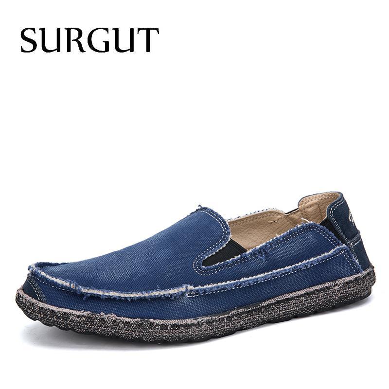 SURGUT Mann-Segeltuch Schuh-Breathable beiläufige Fahren Schuhe einfache gleiten tragen Espadrilles Männer flach Weiche Loafers Big Größe 39 ~ 47