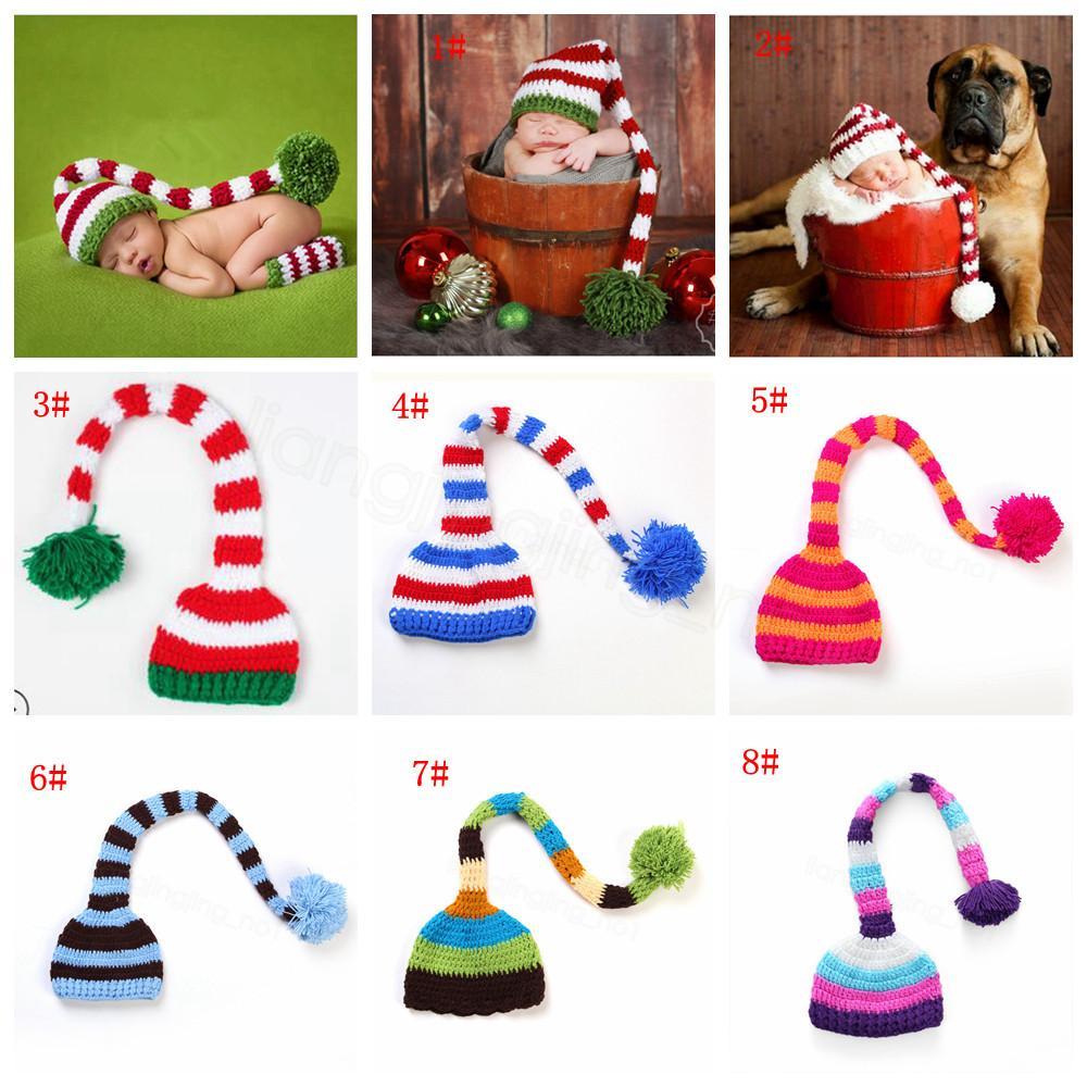El yapımı Örgü Santa Hat Tığ Bebek Noel CYF3131-3 Erkek Bebek Kız Noel Ponpon Şapka Bebek Uzun Kuyruk Çizgili Beanies parti prop şapkalar kapakları