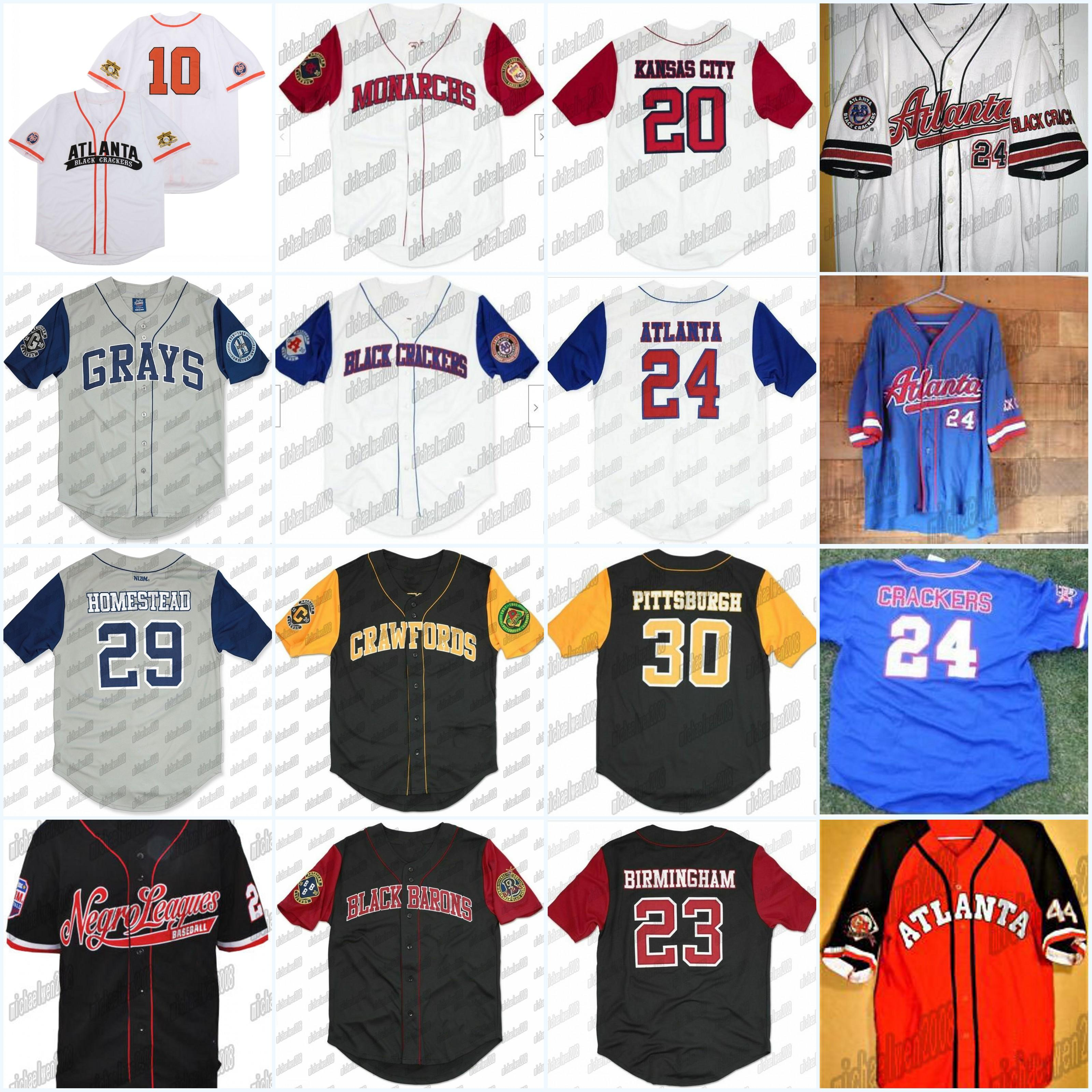 Galletas negras Negro League Button-Down Big Boy Homestead Retro Baseball Jersey para el estadio de béisbol Bordado de alta calidad