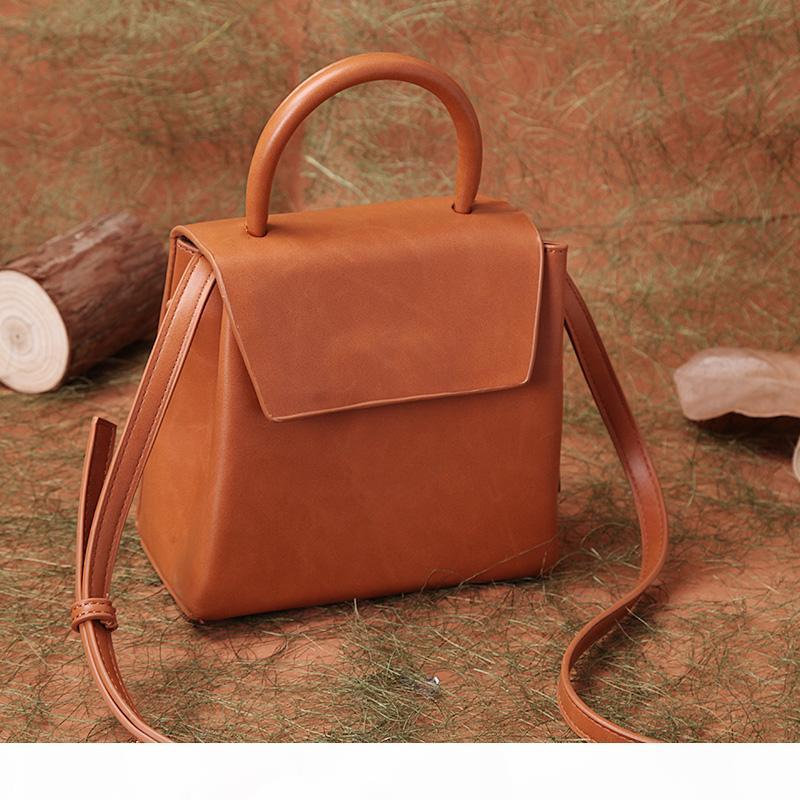 Designer- minimalista Leather Shoulder Bag Tote Crossbody Messenger Bag retrò femminile del nuovo progettista Sac à main