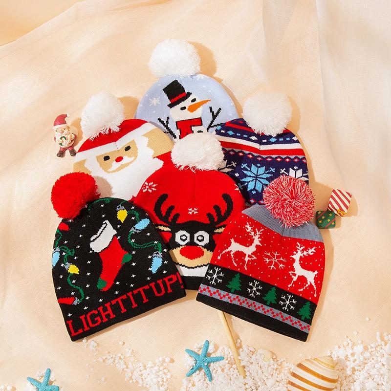 Navidad niños que hacen punto el sombrero de Santa invierno caliente Niños de Navidad del copo de nieve de los ciervos ganchillo Beanie Pompom sombreros casquillo al aire libre del bebé de esquí Caps M2679