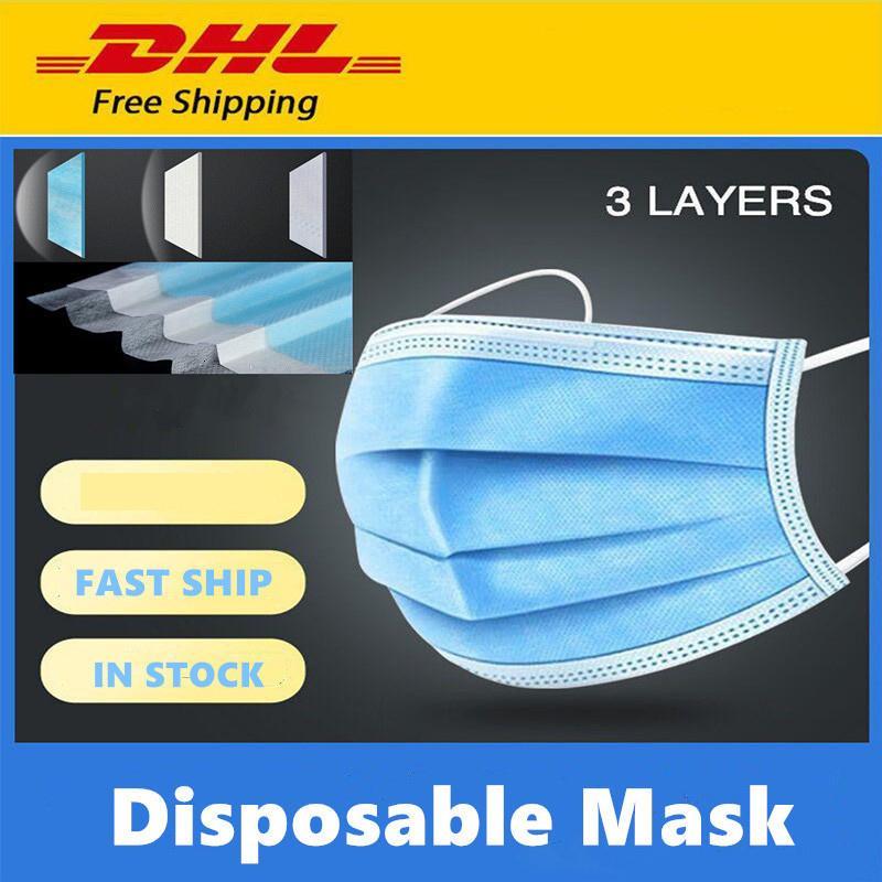 DHL cara livre descartáveis Pcs transporte Máscara 50 grossas 3-Layer Máscaras PM2.5 poeira com Earloops para Salon, Home Use máscara confortável Mascherine