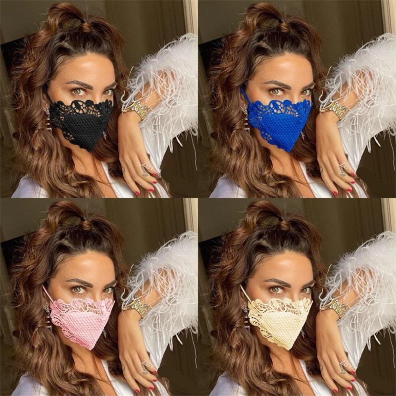 Cotton Lace Mascherine Красочные маски Black Red Dust Face Анти Pm 2,5 моющийся Респиратор Мода Многоразовые дышащие Девушки Женщины 6 9ol C2