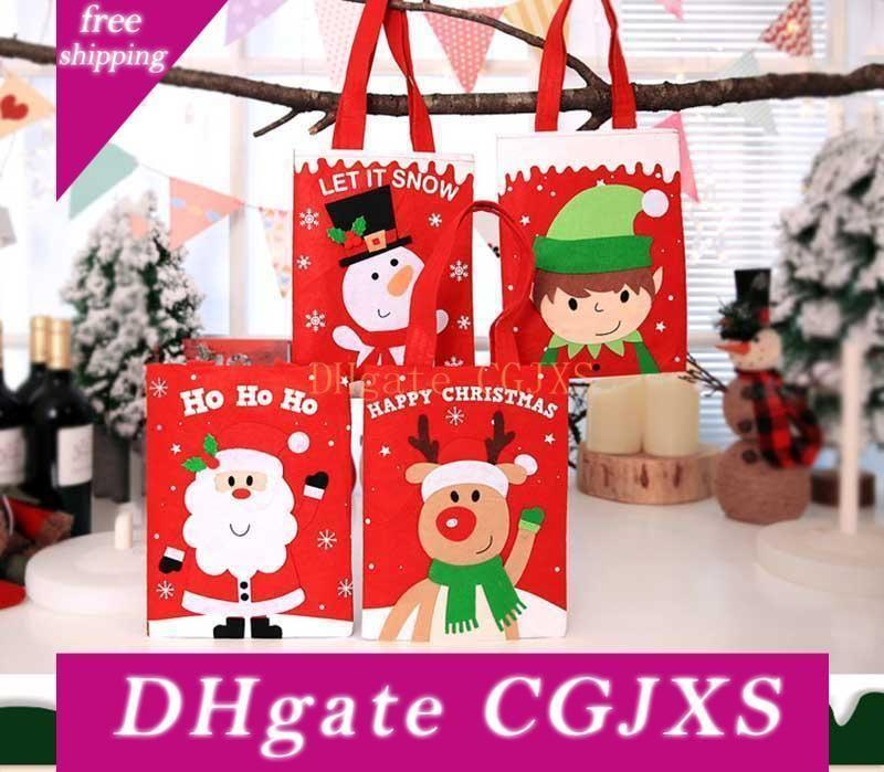 Chrismas Doces Sacos 4 Designs Papai Noel Meninos do boneco de neve Eil presente das crianças Packet Festival Decoração Acessórios Party Supplies 08
