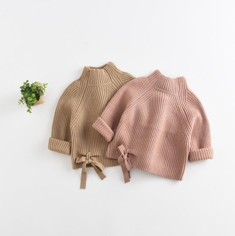 Baby Girls sweater kids lace-up Bow knitted sweater pullover children stand neck long sleeve jumper A4037