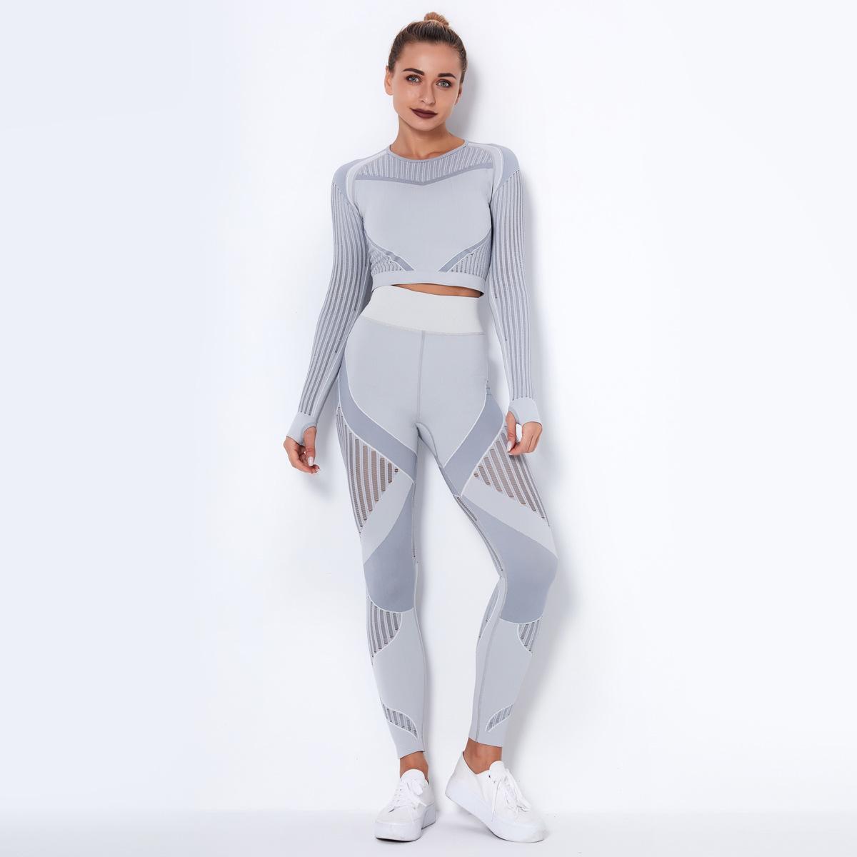 2020 INS Kadın Yoga Seti Dikişsiz Spor 2 adet Seti Uzun Kollu gömlek ekin üst ter ve Yüksek Bel Uzun Pantolon Capri Yoga Eşofman