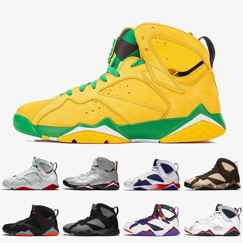 nike air jordan 7 retro 7 2020 la qualité de presse Retro Top Jumpman Oregon Ducks 7 hommes les femmes de chaussures de basket-ball Hare Patta formateurs Ray Allen