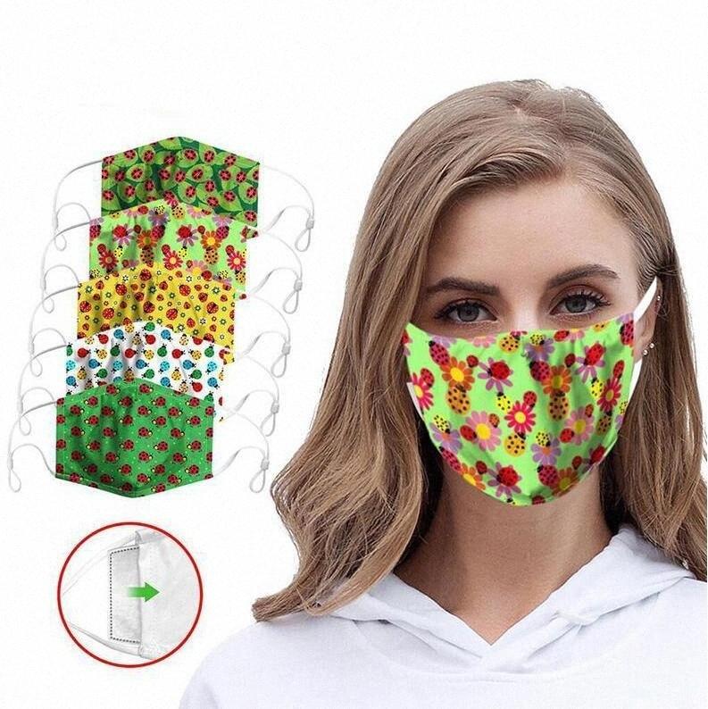 Imprimir fruta Mascarillas Diseñador respirador puro algodón protector solar facial Boca cubierta lavable de seguridad a prueba de polvo anti-Haze reutilizable Máscara DHC1 is8Z #