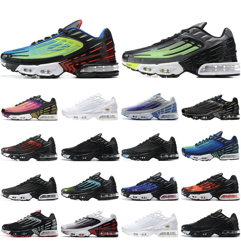 Hot Sale Tn Plus III Men Women Running Shoes Triple White Black Iridescent Parachute Pack Hyper Violet mens trainers outdoor sports sneakers